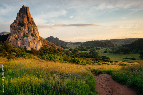 Poster Natuur Park Beautiful Sunrise Scene in Garden of the Gods