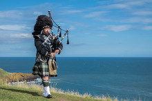 Traditional Scottish Bagpiper ...