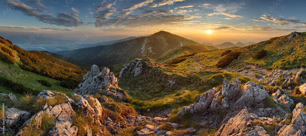 Fototapety, obrazy: Panorama rocky mountain at sunset in Slovakia