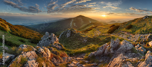 Foto op Aluminium Bergen Panorama rocky mountain at sunset in Slovakia