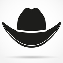 Silhouette Symbol Of  Cowboy Hat. Vector Illustration