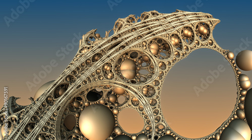 Foto op Aluminium Fractal waves Abstract background, fantastic 3D gold structures, fractal design.