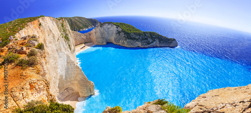 Foto op Canvas Tropical strand Panorama of Navagio Beach (Shipwreck beach) on Zakynthos Island, Greece