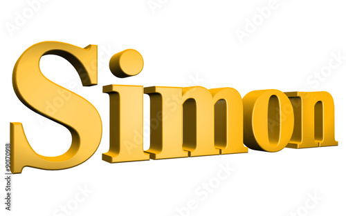 Cuadros en Lienzo 3D Simon text on white background