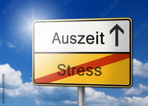 Foto  Auszeit vom Stress Schild