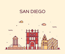 San Diego Skyline Vector Illus...