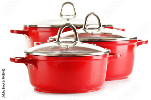 Fotografie, Obraz  Steel pots isolated on white background