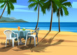 Beach table and by the sea. Cafe on beach.Vector illustration