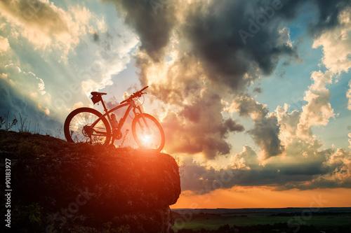 Deurstickers Fiets Beautiful scene of bike on sunset