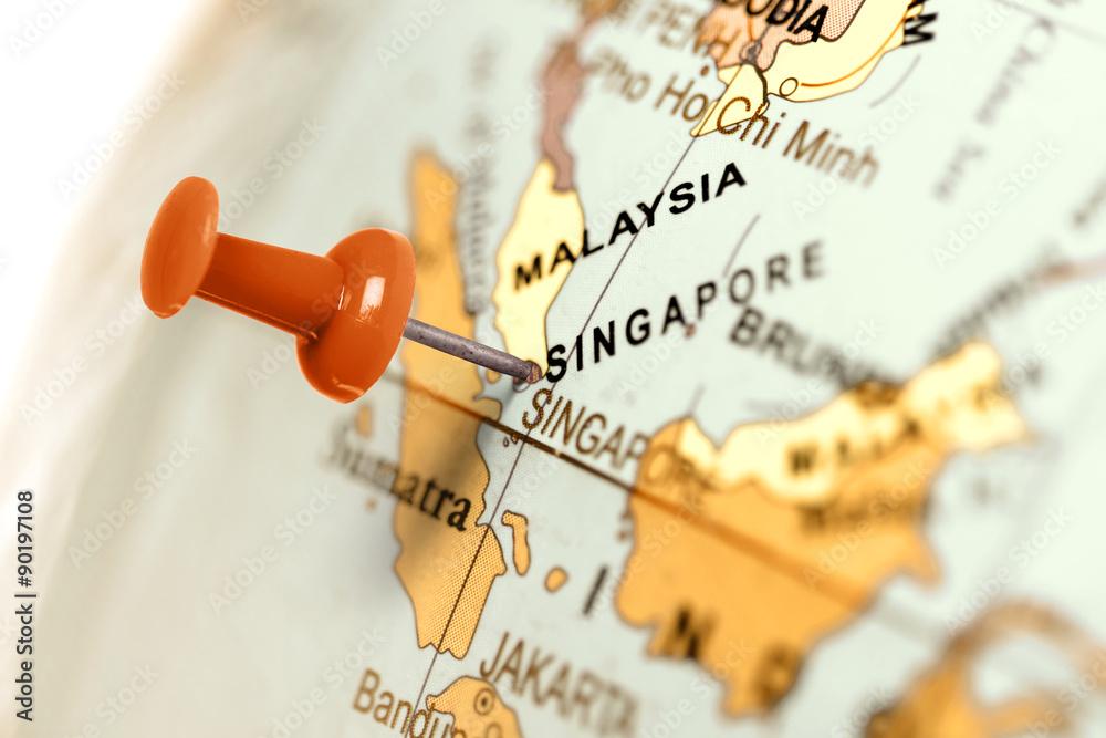Fotografia, Obraz  Location Singapore. Red pin on the map.