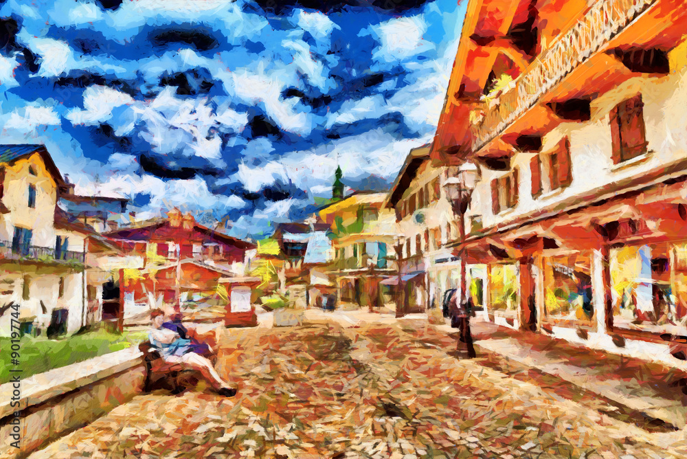 Small european town tourists square oil painting