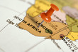 canvas print picture - Location South Africa. Red pin on the map.