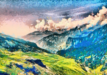 Panel Szklany Podświetlane Krajobraz Bright green morning at Himalaya mountains oil paintings