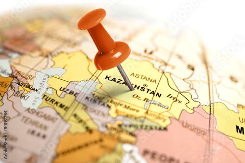 Keuken foto achterwand Indonesië Location Kazakhstan. Red pin on the map.