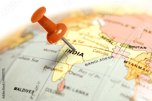 Location India. Red pin on the map. Obraz na płótnie