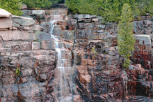 Cascading Waterfall In Acadia National Park, Maine, USA