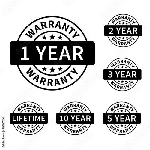 Fotomural 1, 2, 3, 5, 10 years and lifetime warranty label or seal flat icon