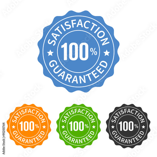 Poster  100% satisfaction guaranteed seal or label flat icon