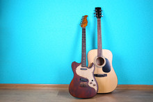 Guitars On Blue Wallpaper Background