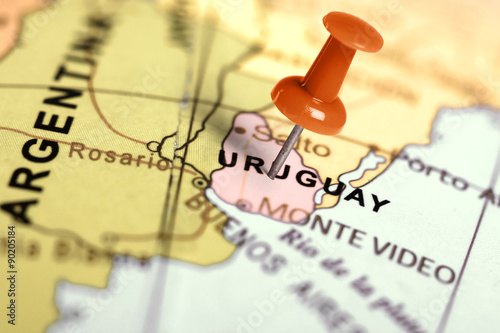 Poster South America Country Location Uruguay. Red pin on the map.