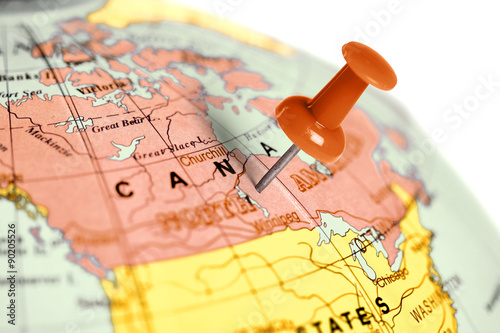 Foto op Plexiglas Canada Location Canada. Red pin on the map.