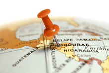 Location Honduras. Red Pin On The Map.