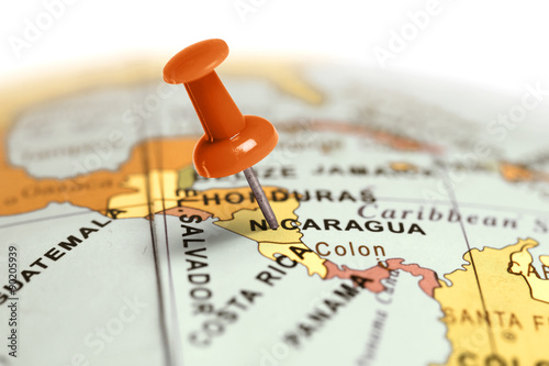 Fotografie, Obraz Location Nicaragua. Red pin on the map.