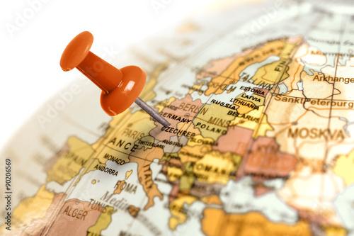 Fotografie, Obraz  Místo Germany. Červený kolík na mapě.