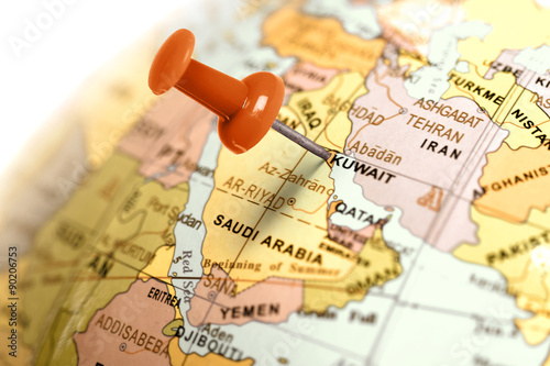 Poster Moyen-Orient Location Kuwait. Red pin on the map.