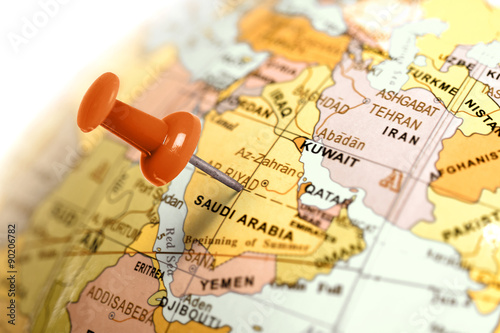 Recess Fitting Middle East Location Saudi Arabia. Red pin on the map.