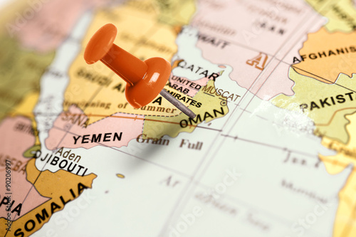 Fotobehang Midden Oosten Location Oman. Red pin on the map.