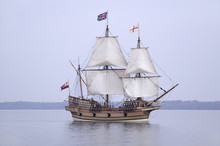The Susan Constant, Godspeed And Discovery, Re-creations Of The Three Ships That Brought English Colonists To Virginia In 1607, Flying The English And Union Jack Flags And Sailing Down The James River On May 12, 2007, As Part Of The 400th Anniversary Program Of The Founding Of Jamestown, Virginia