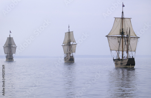 The Susan Constant, Godspeed and Discovery, re-creations of the three ships that Canvas Print