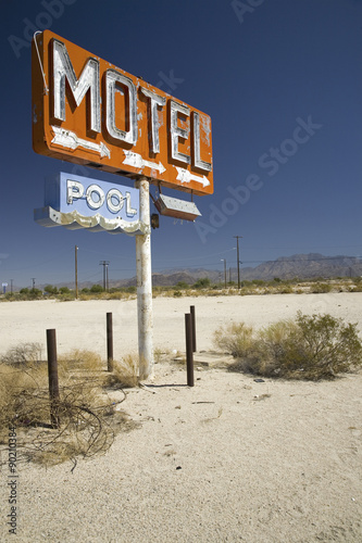 Wall Murals Route 66 Old 1950's neon sign reading Motel Pool in remote part of desert of Arizona