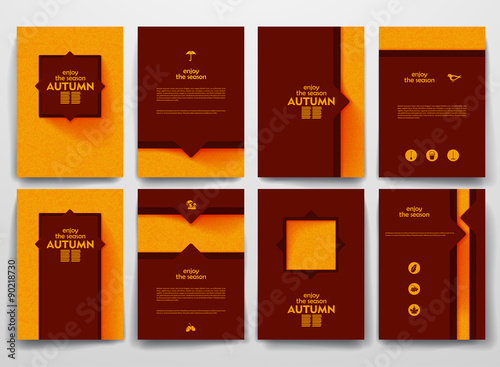 Garden Poster Brown Vector brochures with doodles backgrounds on autumn theme
