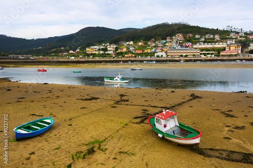 View of Viveiro with river and boats