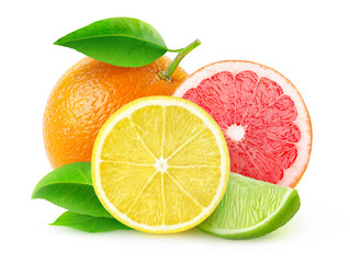 Fototapeta Owoce Fresh citrus fruits isolated on white, with clipping path