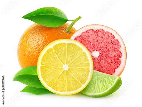 Fényképezés Fresh citrus fruits isolated on white, with clipping path