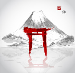 Fototapeta Orientalny Torii gates hand-drawn with ink