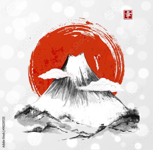 Fujiyama mountain and big red sun.  - 90228725