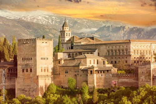 Photo alhambra sunset
