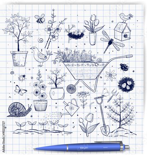 Poster de jardin Oiseaux en cage Collection of spring doodle sketch elements