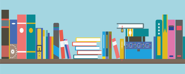 books on a shelf - flat design banner