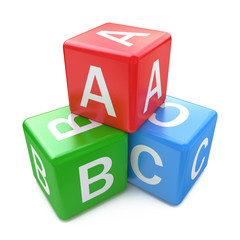 Back to school and education concept: ABC color glossy cubes
