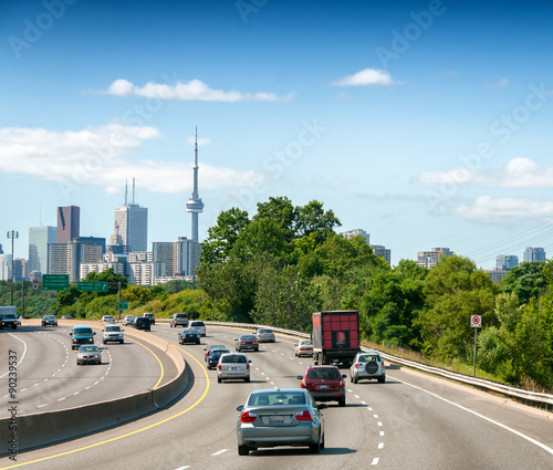 Toronto skyline as seen from interstate