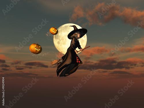 Fotografie, Obraz Bruja volando sobre una escoba
