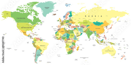 World map - highly detailed vector illustration. Canvas Print