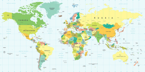 Panel Szklany World Map - highly detailed vector illustration.