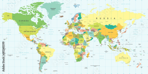 Stampa su Tela World Map - highly detailed vector illustration.