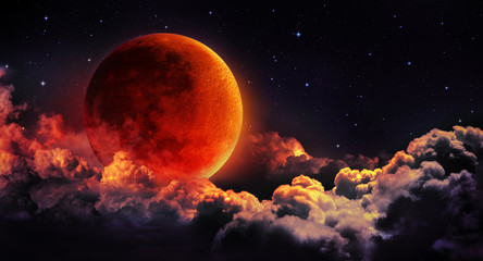 moon eclipse - planet red blood with clouds